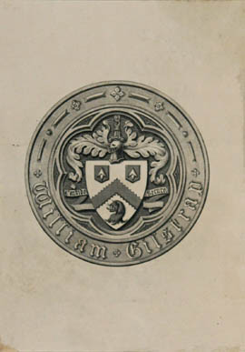 engraved armorial bookplate of William Gilstrap